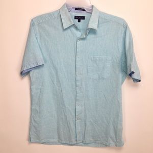 Alan fluster L linen blend button up shirt